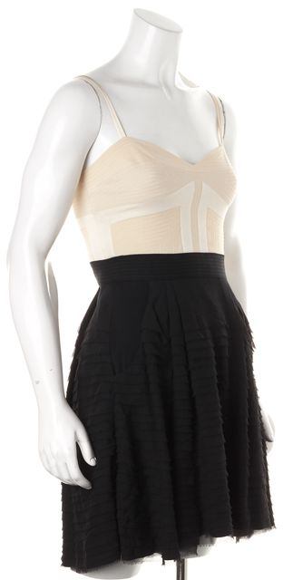 DIANE VON FURSTENBERG Black Ivory Silk Tiny Dancer Tiered Mini Dress