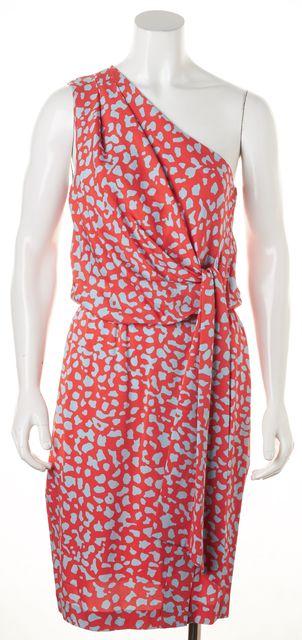 DIANE VON FURSTENBERG Pink Blue Geometric Silk Agantha One Shoulder Dress