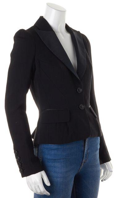 DIANE VON FURSTENBERG Black Wool Bianca Jagger Two Button Blazer