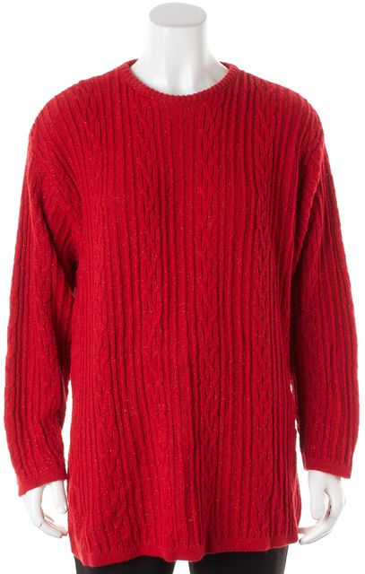 DIANE VON FURSTENBERG Metallic Red Chunky Cable Knit Crewneck Sweater
