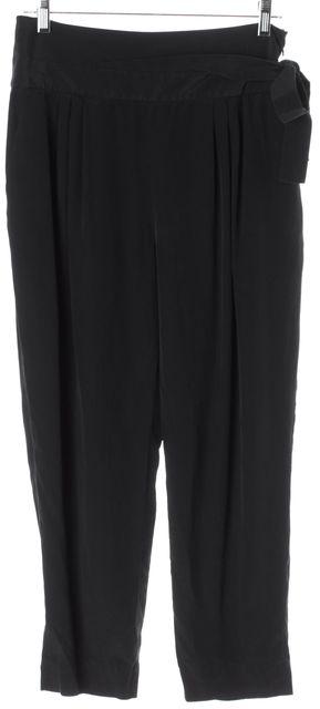 DIANE VON FURSTENBERG Black Silk Cropped Keaka Casual Pants
