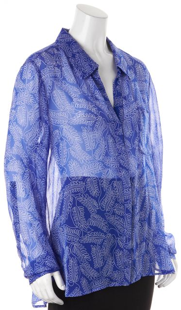 DIANE VON FURSTENBERG Blue Floral Silk Sheer Lorelei Two Blouse