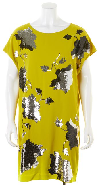 DIANE VON FURSTENBERG Yellow Silver Black Sequin Harriet Shift Dress