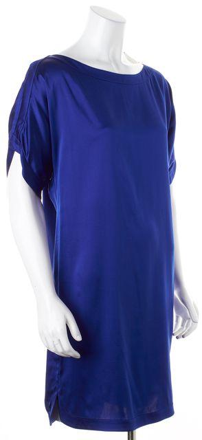 DIANE VON FURSTENBERG Blue Satin Silk Short Sleeve Giselle Shift Dress
