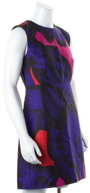 DIANE VON FURSTENBERG Blue Pink Black Poppy Leopard Yvette Shift Dress