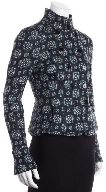 DIANE VON FURSTENBERG Green Beige Floral Wool Blazer