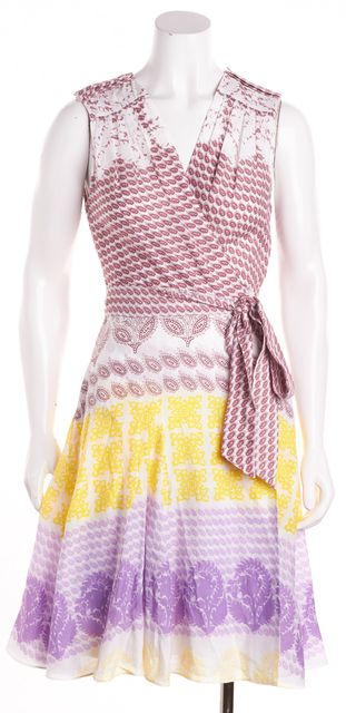 DIANE VON FURSTENBERG White Yellow Red Purple Paisley Elas Wrap Dress