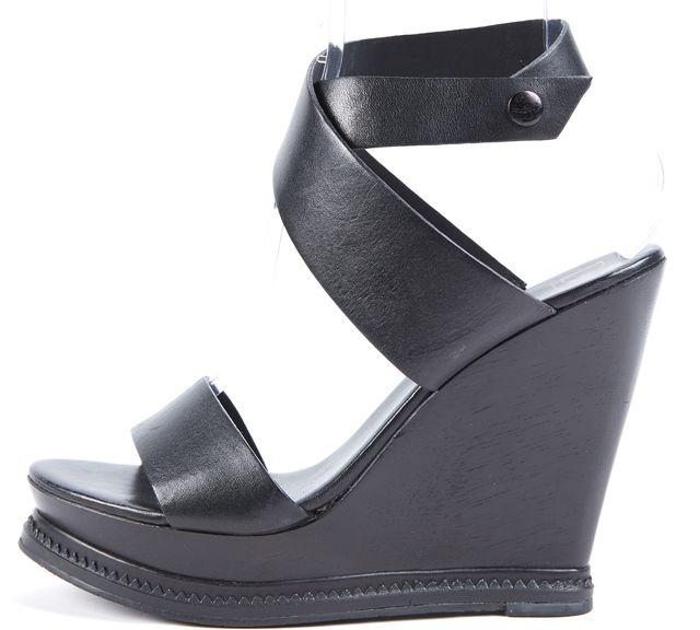DIANE VON FURSTENBERG Black Leather Platform Sandal Wedges Shoes