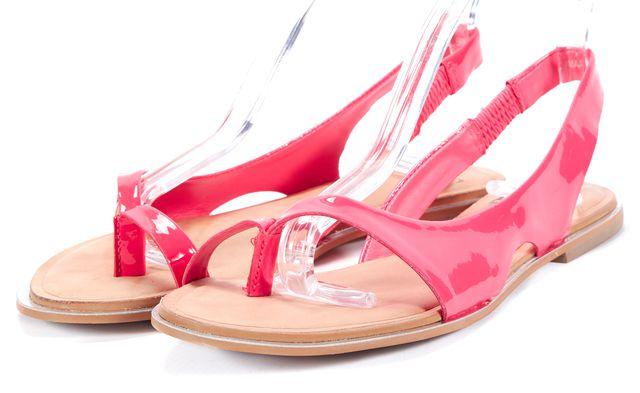 DIANE VON FURSTENBERG Pink Patent Leather Slingback Sandals
