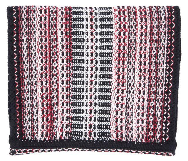 DIANE VON FURSTENBERG Red Black White Wool Multiweave Circle Infinity Scarf