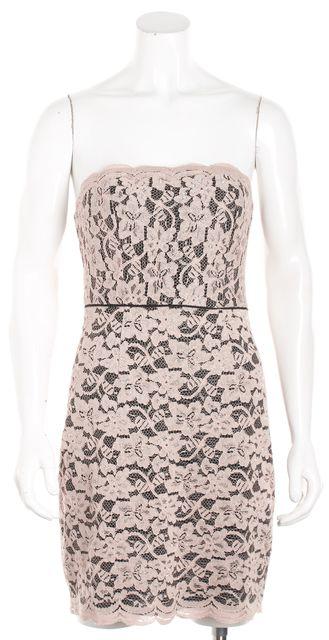 DIANE VON FURSTENBERG Beige Lace Strapless Sheath Dress