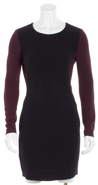 DIANE VON FURSTENBERG Black/ Maroon Long Sleeve Colorblock Sheath Dress