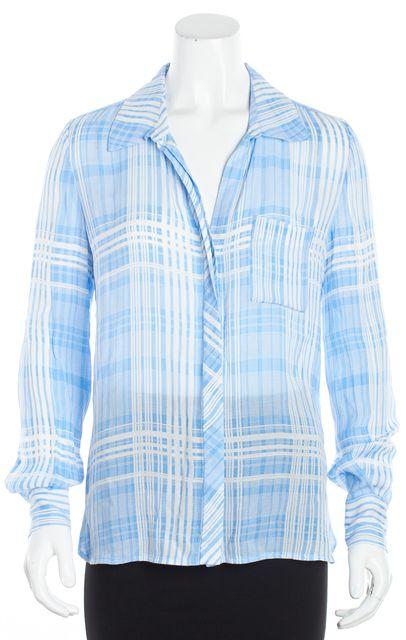 DIANE VON FURSTENBERG Blue Plaid Button Down Long Sleeve Shirt Blouse