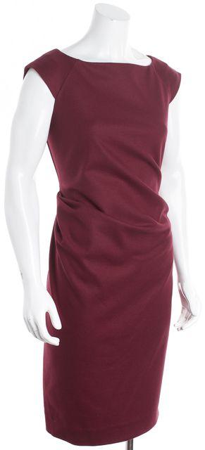 DIANE VON FURSTENBERG Merlot Red Wool Gabi Felted Jersey Sheath Dress