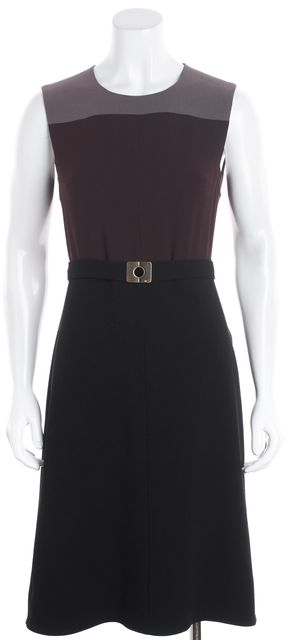 DIANE VON FURSTENBERG Brown Sleeveless Colorblock Belted Sheath Dress