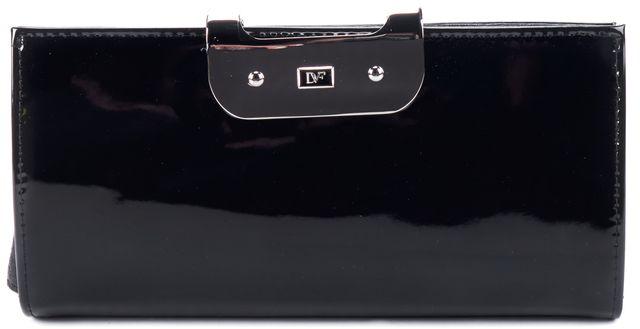 DIANE VON FURSTENBERG Black Patent Leather LG Harper Wallet