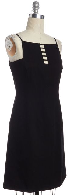 DAVID MEISTER Black Square Neck Cutout Keyhole Knee Length Sheath Dress