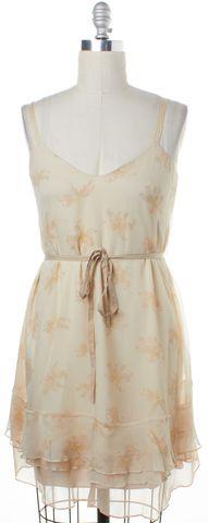 ELIZABETH AND JAMES Ivory Beige Lily Flower Silk Tie Belt Dress