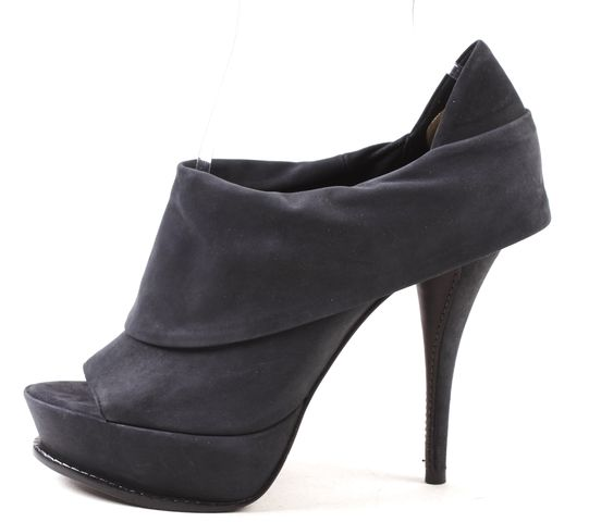 ELIZABETH AND JAMES Navy Leather Peep Toe Booties Size 8