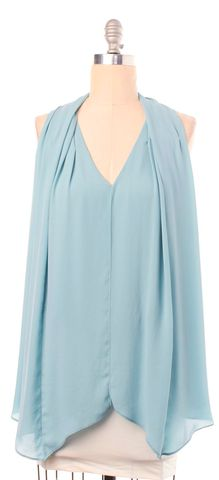 ELIZABETH AND JAMES Light Blue Sleeveless Panel Blouse Top
