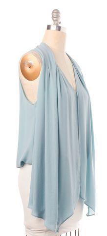 ELIZABETH AND JAMES Light Blue Sleeveless Panel Blouse Top