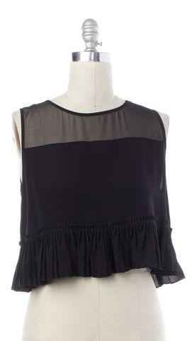 ELIZABETH AND JAMES Black Silk Sleeveless Crop Top Size M