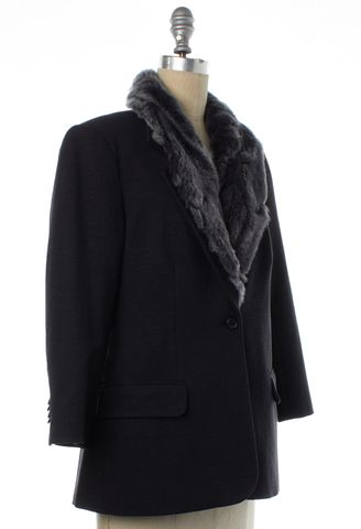 ELIZABETH AND JAMES Gray Fur Lining Basic Jacket