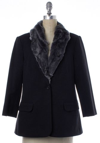 ELIZABETH AND JAMES Gray Fur Lining Basic Jacket Size L