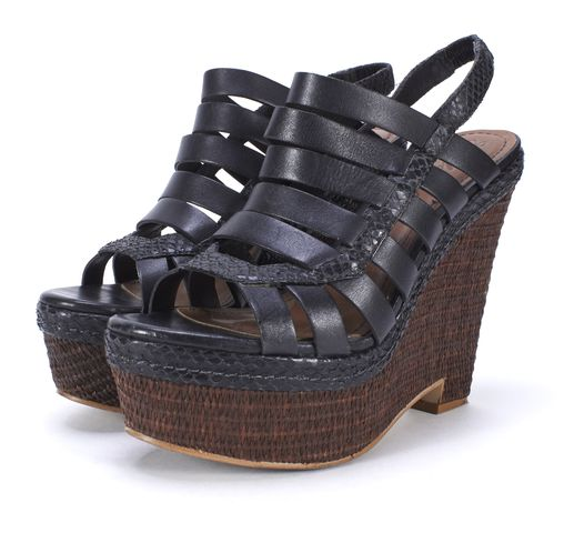 ELIZABETH AND JAMES Black Leather Strappy Slingback Wedge Sandal Heels Size 7.5