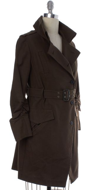 ELIZABETH AND JAMES Brown Asymmetric Belted Trench Coat