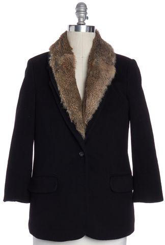 ELIZABETH AND JAMES Black Wool Rabbit Fur Lined Basic Jacket Size 10