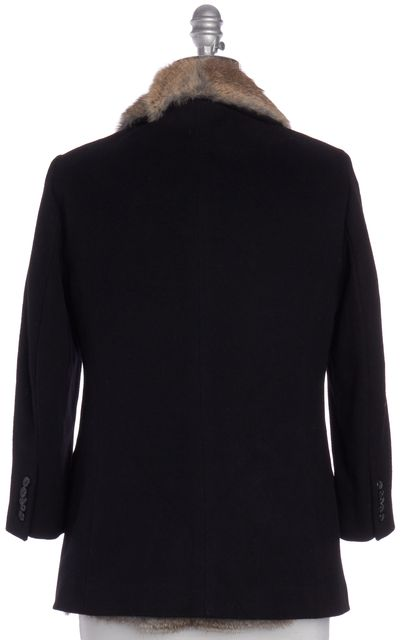 ELIZABETH AND JAMES Black Wool Rabbit Fur Lined Basic Jacket