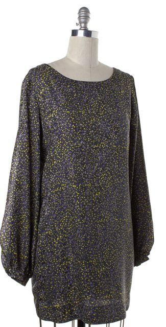 ELIZABETH AND JAMES Gray Yellow Abstract Silk Cold Shoulder Shift Dress