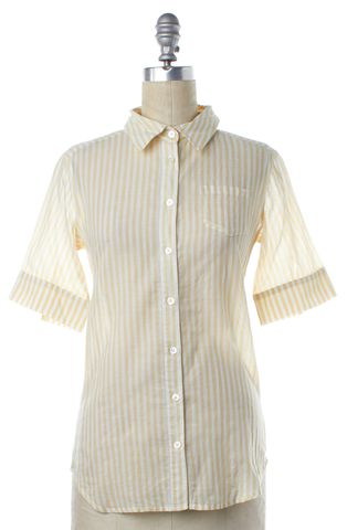 ELIZABETH AND JAMES Yellow White Striped Button Down Shirt