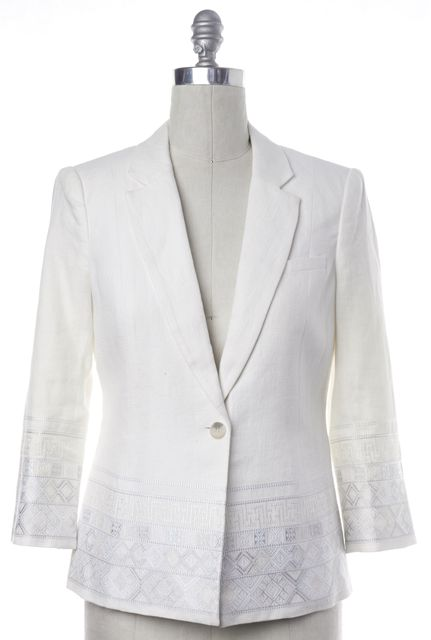 ELIZABETH AND JAMES White Geometric Embroidered Linen Blazer
