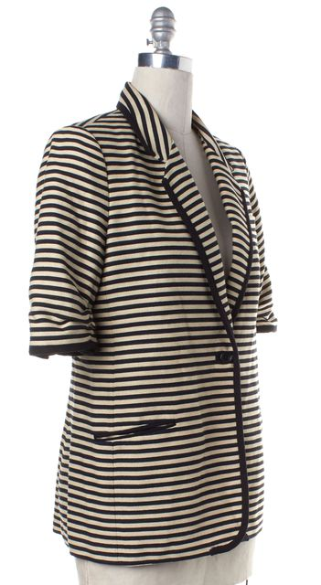 ELIZABETH AND JAMES Ivory Navy Striped Short Sleeve Single Button Blazer