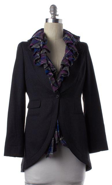 ELIZABETH AND JAMES Gray Multi Ruffle Trim Wool Blazer