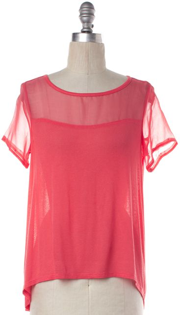 ELIZABETH AND JAMES Pink Sheer Panel Short Sleeve Knit Top