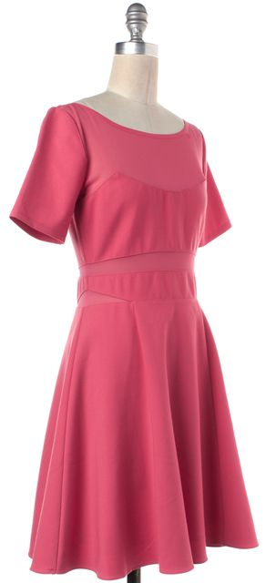 ELIZABETH AND JAMES Coral Pink Short Sleeve Mesh Panel Fit Flare Dress