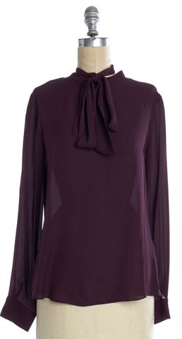 ELIZABETH AND JAMES Purple Silk Pussy Blouse