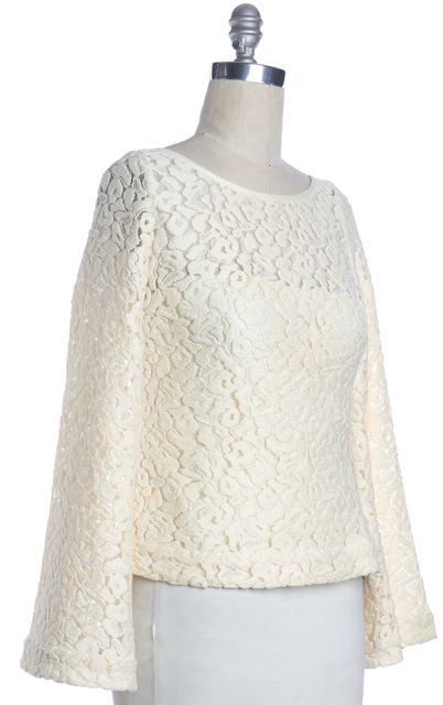 ELIZABETH AND JAMES Ivory Lace Knit Long Sleeve Top