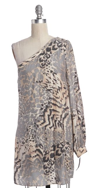 ELIZABETH AND JAMES Beige Gray Animal Print Silk One Shoulder Shift Dress