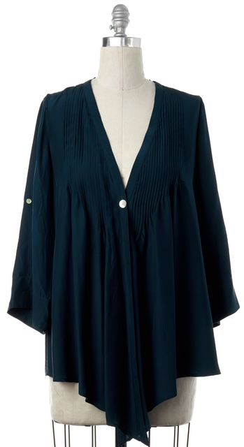 ELIZABETH AND JAMES Teal Blue Silk Single Button Asymmetrical Shirt Top