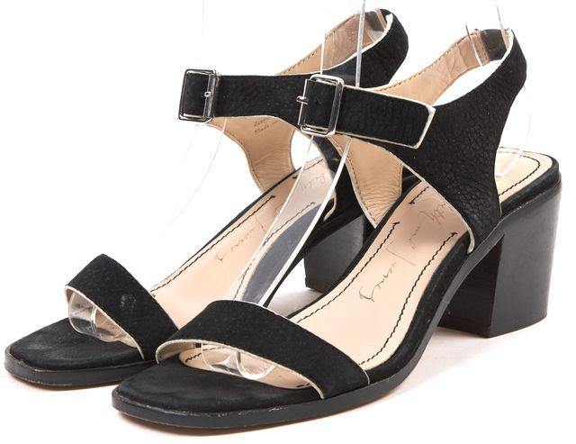 ELIZABETH AND JAMES Black Textured Suede Ankle Strap Block Heels
