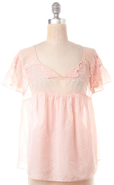 ELIZABETH AND JAMES Pink Geometric Lace Short Sleeve Blouse Top