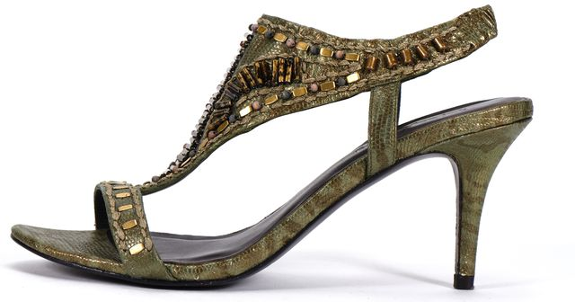 ELIZABETH AND JAMES Green Lizard Embossed Sequin Embellished Sandal Heels
