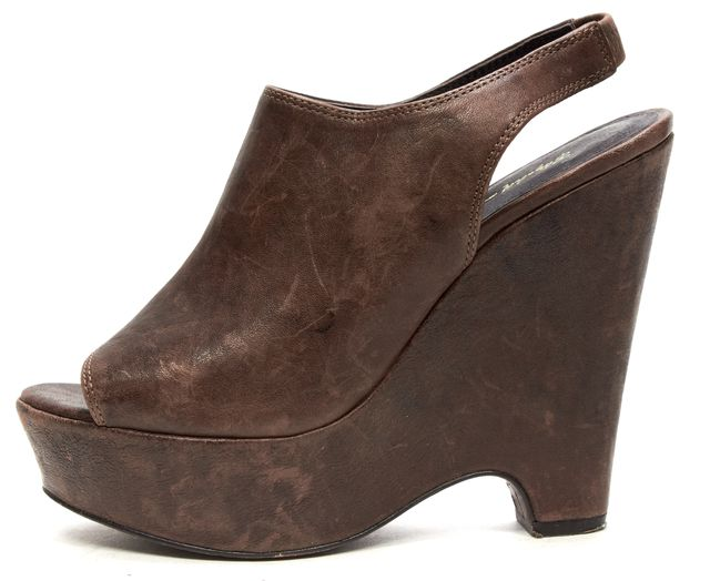 ELIZABETH AND JAMES Brown Leather Open toe Slingback Wedge Mules