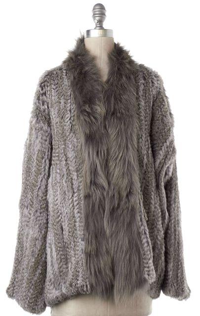 ELIZABETH AND JAMES Gray Rabbit Coyote Combo Fur Jacket