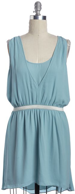 ELIZABETH AND JAMES Blue Blouson Mini Dress