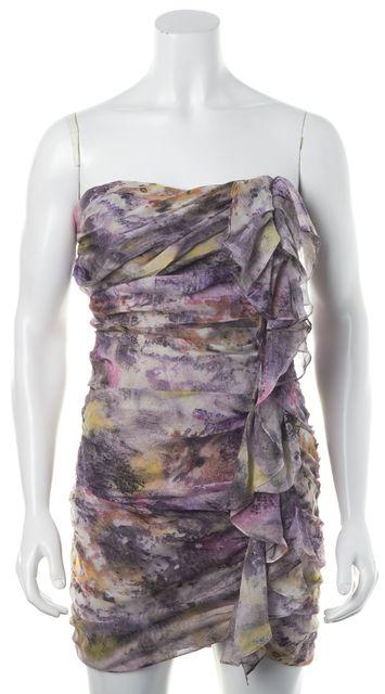 ELIZABETH AND JAMES Purple Printed Silk Strapless Draped Sheath Dress